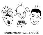 avatar retro family. cartoon... | Shutterstock .eps vector #638571916
