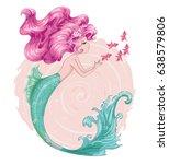 Stock vector cute mermaid little mermaid cartoon girl style sea themed ornament seamless pattern with cute 638579806