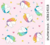 unicorn head seamless pattern... | Shutterstock .eps vector #638614018