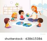 children sit around world map... | Shutterstock .eps vector #638615386