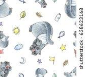 baby seamless hand drawn... | Shutterstock . vector #638623168