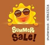 summer sale  summer sun with... | Shutterstock .eps vector #638623216