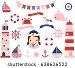 pink girl nautical vector set... | Shutterstock .eps vector #638626522