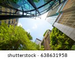 low angle shot of modern glass... | Shutterstock . vector #638631958