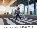 man with a fixie bicycle... | Shutterstock . vector #638642812