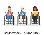 young women in wheelchairs set  ... | Shutterstock .eps vector #638653858