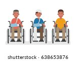 young man in wheelchairs set ... | Shutterstock .eps vector #638653876