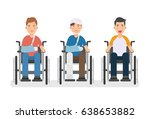 young man in wheelchairs set ... | Shutterstock .eps vector #638653882
