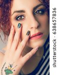 makeup face and hand nails... | Shutterstock . vector #638657836