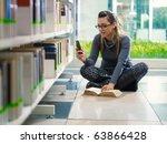 female college student sitting... | Shutterstock . vector #63866428