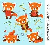 vector cartoon red panda set  | Shutterstock .eps vector #638672716