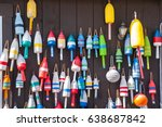 colorful fishing buoys handing... | Shutterstock . vector #638687842