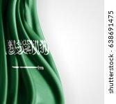 saudi arabia flag of silk with... | Shutterstock . vector #638691475