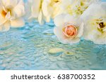 beautiful roses reflected in... | Shutterstock . vector #638700352