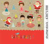 winter christmas card with... | Shutterstock .eps vector #63871588