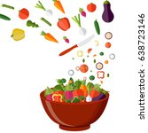 fresh vegetables salad vector... | Shutterstock .eps vector #638723146