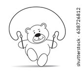 cartoon bear jumping rope...   Shutterstock .eps vector #638726812