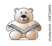 cartoon bear reading book with...   Shutterstock .eps vector #638726842