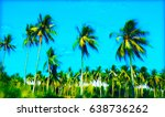 palm tree forest on blue sky.... | Shutterstock . vector #638736262