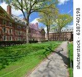 Spring view of freshmen dorms in Harvard University Old Yard