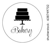 cake on a tray. logotype for a... | Shutterstock .eps vector #638749732