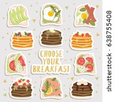 big set of stickers of cute... | Shutterstock .eps vector #638755408
