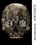 photo print new york and skull...   Shutterstock . vector #638762872