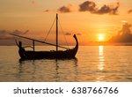 Sunset And Sail Boat  Maldives