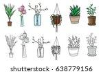 Set Of Pot Plants  Flowers In...