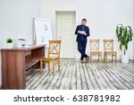 serious manager or employee... | Shutterstock . vector #638781982