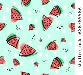 watermelon pattern hand painted ... | Shutterstock . vector #638789986