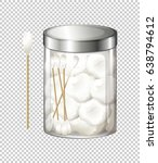 cotton balls and cotton buds in ... | Shutterstock .eps vector #638794612