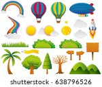 different nature elements in... | Shutterstock .eps vector #638796526