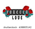 forever love text with red... | Shutterstock .eps vector #638805142