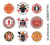firefighter label emblem or... | Shutterstock .eps vector #638809795