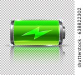Stock vector vector green battery full charge glass reaalistic power battery illustration on transparent 638822302
