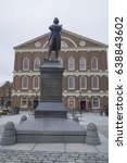 Small photo of Samuel Adams statue in front of Faneuil Hall in Boston - BOSTON / MASSACHUSETTS - APRIL 3, 2017