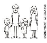 silhouette caricature family...   Shutterstock .eps vector #638866558