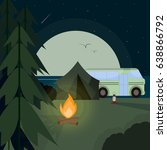 camp at night  flat design...   Shutterstock .eps vector #638866792