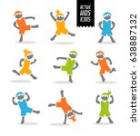 set of cute stylized athletic... | Shutterstock .eps vector #638887132