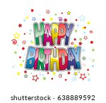 happy birthday greeting card | Shutterstock .eps vector #638889592