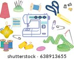 vector set of sewing equipment  ... | Shutterstock .eps vector #638913655