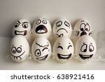 eggs face. the cheerful egg... | Shutterstock . vector #638921416