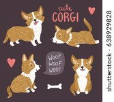 vector set of cute corgi dogs.... | Shutterstock .eps vector #638929828