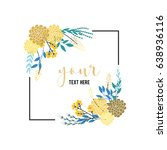blue with golden floral wreath  | Shutterstock .eps vector #638936116