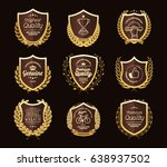 luxury golden badges laurel... | Shutterstock .eps vector #638937502