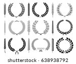 laurel wreaths and branches... | Shutterstock .eps vector #638938792