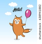 greeting card smiling animal... | Shutterstock .eps vector #638941882