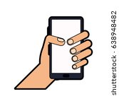 hand holding smartphone icon... | Shutterstock .eps vector #638948482