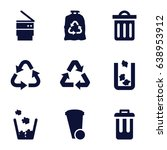 waste icons set. set of 9 waste ... | Shutterstock .eps vector #638953912